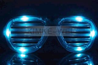 Red Blue Green LED Flashing Light Up Glasses Slotted Shutter Shades
