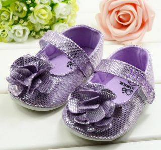 Bid Y063 Flowers Glitter Purple Cute Infant Baby Toddler Shoes Size 3 6 Months