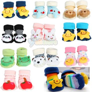 Unisex Cartoon Newborn Baby Toddler Girl Boy Non Slip Socks Slipper Shoes Boots