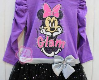 Girls Minnie Mouse Top Party Dress Kids Sequin Skirt Costume Clothing Sz 2 3 4