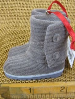 Kurt Adler Resin Gray Fur Lined Boots with Button Ornament New