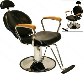 All Purpose Hydraulic Oak Arm Reclining Barber Chair Shampoo Spa Salon Equipment