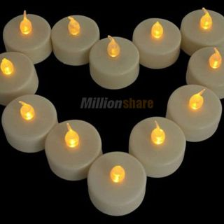 New 96 x LED Battery Operated Flameless Tealight Candles Yellow Wedding Party