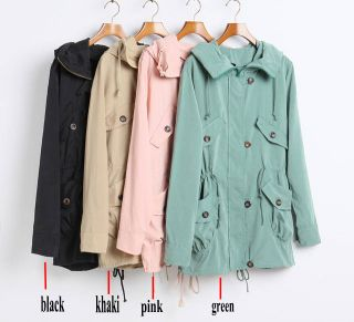 New Womens Casual Hoodie Drawstring Jacket Hooded Trench Jacket Coat 5 Colors