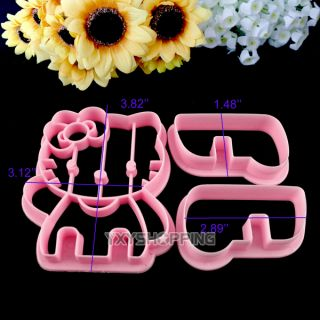 Hello Kitty Mixed Fondant Cake Chocolate Icing Gum Paste Mold Bakeware DIY Tool