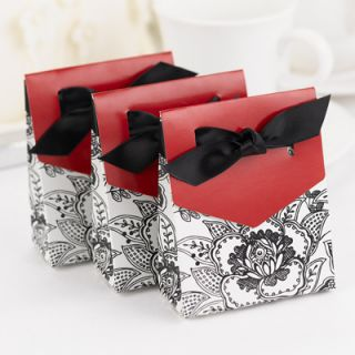 100 Floral Wedding Favor Boxes Elegant Bridal Merlot Black Party Shower Bow Red