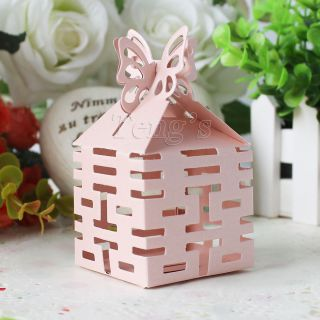 Pink Butterfly Top Double Happiness Wedding Party Baby Shower Favor Gift Box