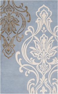 Plush Wool Modern Classic Area Rug Carved Rectangle Blue Cream Candice Olson