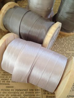 Pretty Silk Ribbon Wooden Spool Vintage French Label Weddings 20 Yards Crafts