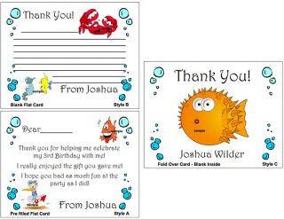 Under the Sea Ocean Birthday Party Personalized Thank You Note Cards