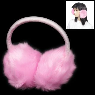 Winter Fluffy Faux Fur Round Ear Muffs Cover Earmuffs Light Pink for Girl