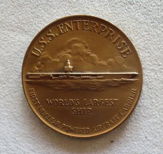 1960 Bronze U s s Enterprise Aircraft Carrier Medal Medallic Art Company NY