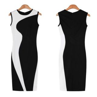Elegant New Women O Neck Sleeveless Pencil Dress Color Block Slim Bodycon Party