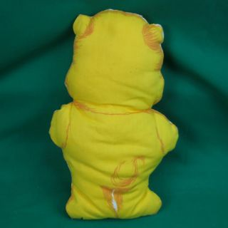 Vintage Handmade Sewn Fabric Print Yellow Birthday Care Bear Plush Pillow Doll