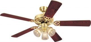 "Westinghouse 7804365 Vintage Brass 52"" Ceiling Fan w Light Pull Chains"