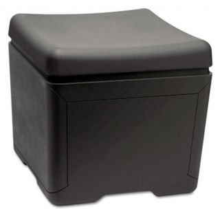 "New 18"" x 18"" File Storage Box with Seat Top Black Plastic"