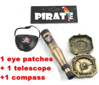 Hot Pirate 1 Eye Patches 1 Telescope 1 Compass Halloween Kids Toy
