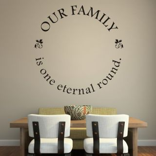 Our Family Is One Eternal Round Frame Border Wall Quote Decal Transfers