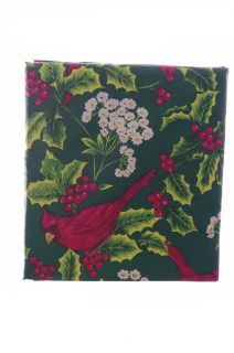 "Red Holly Christmas Poinsettia Red Bird Cardinal Vinyl Tablecloth 60"" Round New"