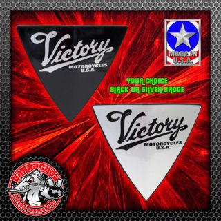 Victory Script Right Side Cheese Wedge Engine Cover Badge Freedom Black Silver