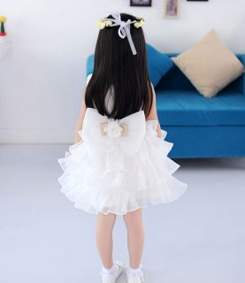 Girls Kid Bowknot Flower Tutu Skirt Princess Wedding Party Pageant Full Dress