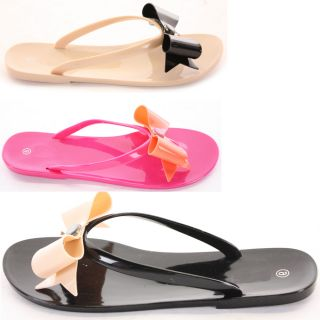 Holiday Beach Summer Jelly Bow Flip Flop Sandals Flat Shoes Size