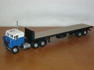 HO Truck Tractor Cast Resin Kenworth Bullnose Ertl Flatbed Trailer Custom