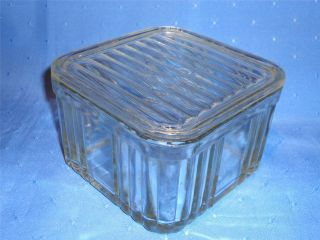 Square Clear Depression Glass Food Storage Container with Lid