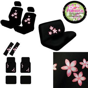 15pc Set Seat Covers Floral Pink Flowers Print Floor Mats Wheel Belt Head Pads