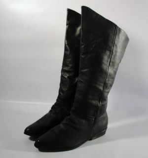 Vintage Womens Black Leather Riding Knee High Boots Shoes Flat Pirate 10 M