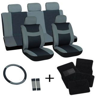 18pc Set Gray Black Auto Car Seat Covers Wheel Belt Pad Head Rest Floor Mats