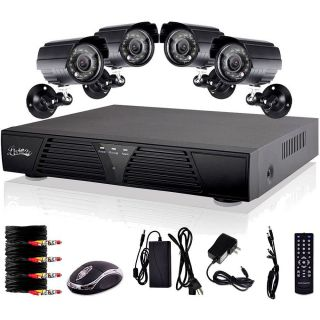 4 CH Full HD D1 Recording DVR Motion Detection Security System 600TVL Waterproof
