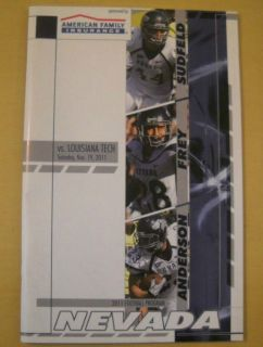 Nevada Wolf Pack 2011 Chris Ault Football Game Programs