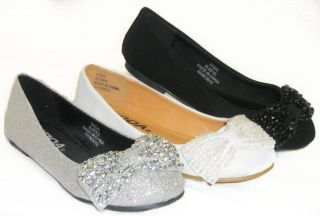 Sparkle Glitter Girls Kids Ballet Flats Casual or Pageant Dress Shoes