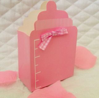 "10ct PK Pink Baby Bottle Baby Shower Party Favor Boxes Comes with 7 75"" Bow"