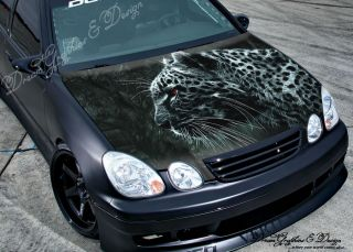 Hood Wrap Full Color Print Vinyl Decal Fit Any Car Angry Wolf 211