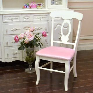 Shabby Cottage Chic Stuning Single Chair Pink Velvet White French Vintage Style