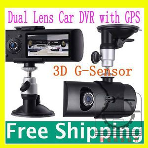"2 7""140° Dual Lens Dash Board Camera Car DVR Black Box Video Recorder GPS Logger"