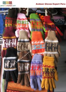 6 Pair Andean Alpaca Wool Gloves Export Peru Handmade Peru Very Warm in Winter
