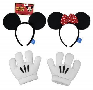 Disney Mickey Minnie Mouse Ears Gloves Headband Unisex Costume Set