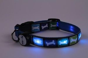 Blue Doggie Bones Lighted LED Pet Dog Collar Steady Glow or Flashing Lights