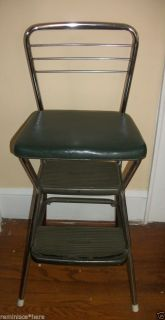 Vintage Cosco Step Stool Ladder Chair Green Vinyl Seat Chrome Back Mid Century
