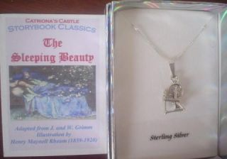 The Sleeping Beauty Sterling Silver Spinning Wheel Charm Necklace Jewelry Story