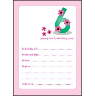 10 Childrens Birthday Party Invitations 6 Years Old Girl Pretty Bpif 19 Pink