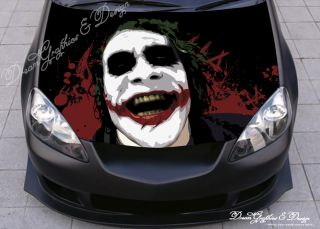 Hood Wrap Full Color Print Vinyl Decal Fit Any Car Evil Jester 225