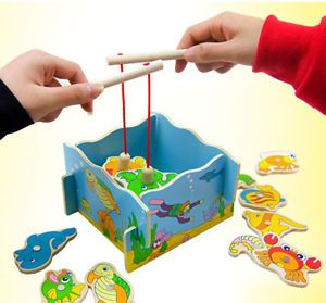 Wooden Toy Magnetic Fishing Game Kids Children Education Creative