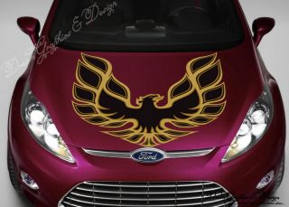 Hood Wrap Full Color Print Vinyl Decal Fit Any Car Fire Eagle Logo 179
