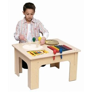 Kids Wooden Music Toy Real Musical Instruments Wood Activity Table Made in USA