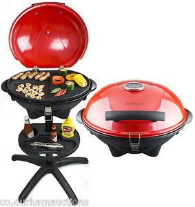 Andrew James Portable Red Electric BBQ Grill Oven Griddle Indoor Outdoor Camping