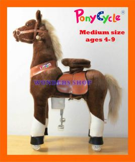 Medium Brown Ride on Horse Ponycycle Really Walking Pony Toy for Kids 4 9 Years